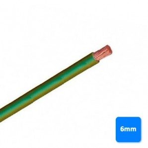 Roll of cable halogen-free 6mm yellow and green BY the METRE H07Z1-K AS 750V
