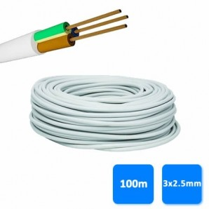 Roll of hose 3x2.5mm white (100 meters) H05VV-F