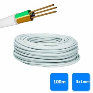 Roll of hose 3x1mm white (100 meters) H05VV-F