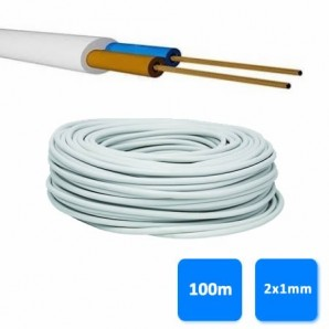 Roll of hose 2x1mm white (100 meters) H05VV-F