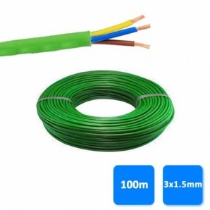 Hose - Roll of hose, halogen-free 3x1.5mm green 1 kV (100 meters) RZ1-K (AS)