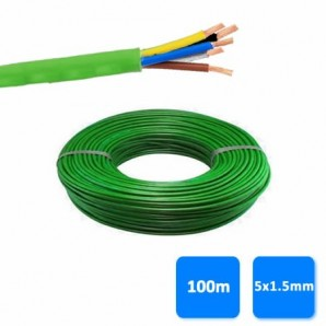Hose - Roll of hose, halogen-free 5x1.5mm green 1 kV (100 meters) RZ1-K (AS)