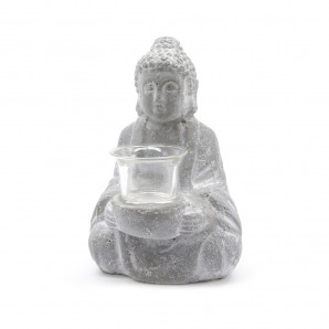 Buddha statue from concrete with metal holder-glass EDM 83078