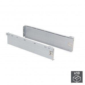 Batch of 10 Emuca Ultrabox drawer kits, height 118 mm and depth 450 mm in metallic grey colour