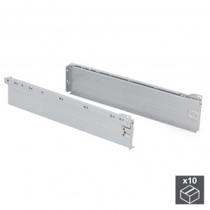 Batch of 10 Emuca Ultrabox drawer kits, height 118 mm and depth 500 mm in metallic grey colour