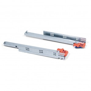 Set of Emuca hidden total extraction runners with soft closing and a hook for Slippe drawers with a depth of 390 mm