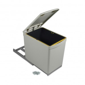 Comprar Emuca recycling container for bottom fastening and manual extraction with 1 16-litre container and an automatic lid online