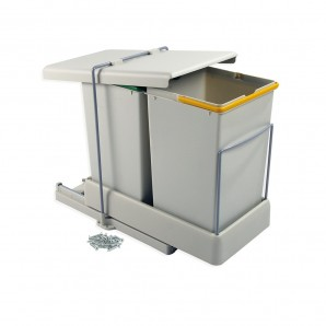 Emuca best sellers  - Emuca recycling containers for bottom fastening and automatic extraction with 2 14-litre containers