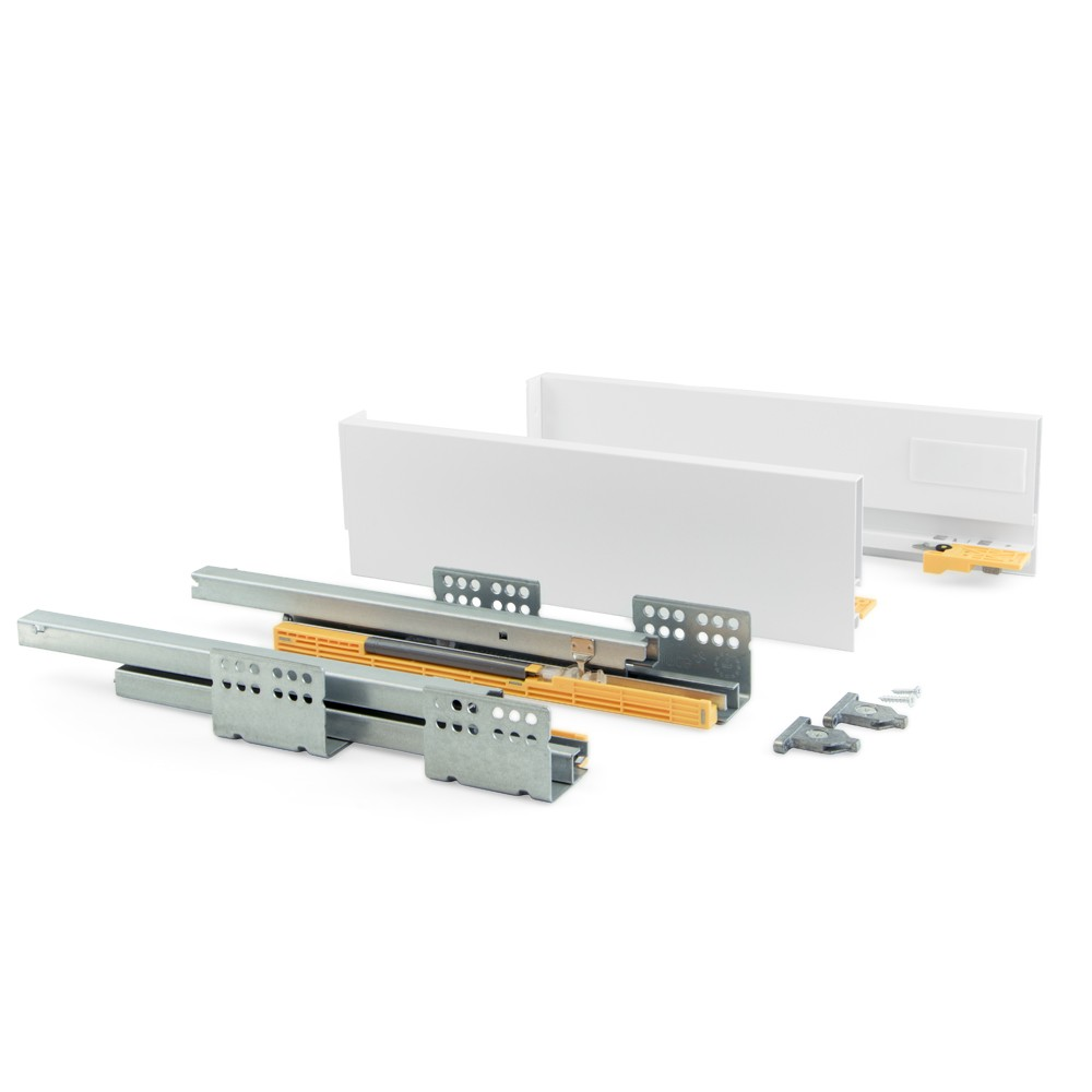 Kit for kitchen or bathroom drawer with full extension runners and soft close height 204mm and depth 500mm Grey Emuca Soft close kitchen drawer runners