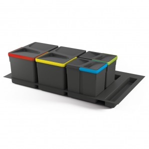 Emuca best sellers  - Emuca set of 12L, 6L, 6L containers with Recycle base for 900 mm unit drawers