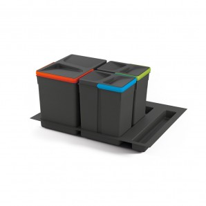 Emuca best sellers  - Emuca set of 15L, 7L, 7L containers with Recycle base for 600 mm unit drawers