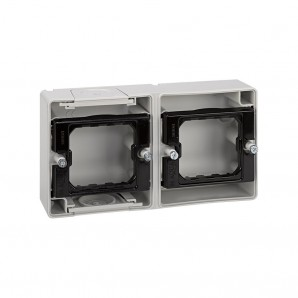 Base enclosure gray 2 elements horizontal s. 44 aqua, SIMON 4400761-035