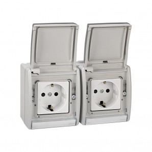 Double-base plug bipolar with t.t.lateral prewired gris 10/16a 250v emb.fast SIMON 4490433-035