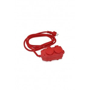 Base multiple 2 sockets with cover 3 metres of RED cable GSC