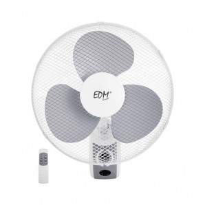 Fan wall remote control ø40cm blades 45w edm 3 speeds safety grid angle adjustable and oscillating