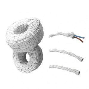 Parallel Cable, textile braided parallel 2x1 white roll 100m EDM 11901