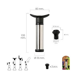 Pump Vacuum Wine Stainless Steel With 2 Stoppers 05057030