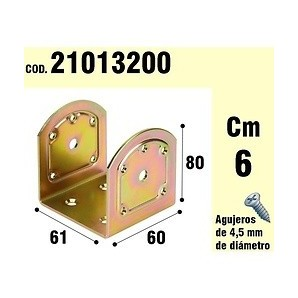 """Brackets for wood - Support For Wood Type """"Or"""" Bicromatado 60 mm 21013200"""