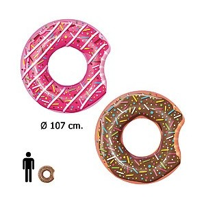 Swimming pool and accessories - Flotador Donut Gigante Rosa / Chocolate Ø 107 cm. 08321701