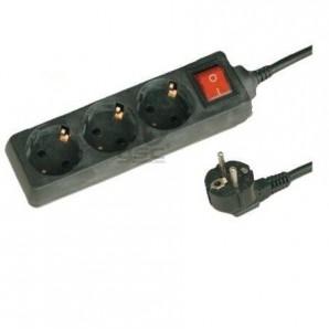 Base multi, schwarz, mit 3 steckdosen und schalter, 1.5 m kabel GSC 0000025