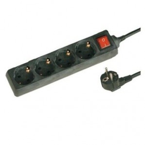 Base multi-black with three outlets and switch