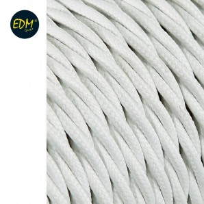 Cable textil trenzado 2x0,75mm blanco 5m