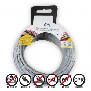 Carrete cablecillo flexible 1,5mm gris 20mts libre-halogeno