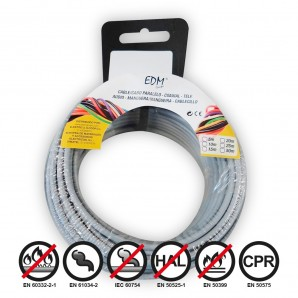 Carrete cablecillo flexible 2,5mm gris 5mts libre-halogeno