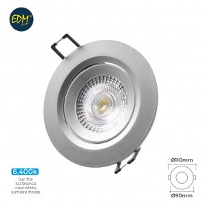 Downlight led empotrable 5w 380 lumen 6.400k redondo marco cromo edm