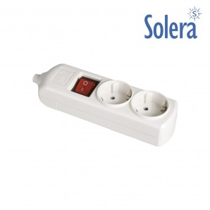 Base bipolar 2 tomas con t/t lateral 16a 250v blanco interruptor luminoso