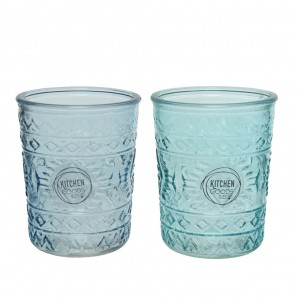 Vaso de cristal con relieve dia8.3x10.3cm 350ml