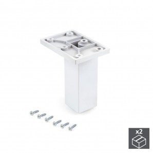 Wheels and legs for furniture - Emuca Pie para mueble, central, regulable 100 - 110 mm, Plástico, Blanco, 2 ud.