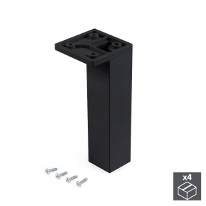 Wheels and legs for furniture - Emuca Pie para mueble, esquina, regulable 140 - 150 mm, Plástico, Negro, 4 ud.