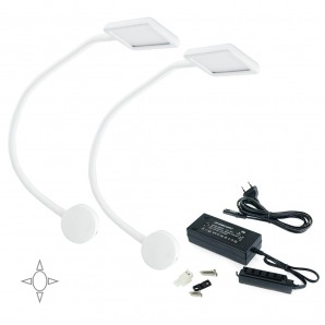 LED battery operated - Emuca Aplique LED, cuadrado, brazo flexible, sensor táctil, 2 USB, Luz blanca natural, Plástico, Blanco + convertidor 50W, 2 ud.