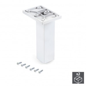 Wheels and legs for furniture - Emuca Pie para mueble, central, regulable 140 - 150 mm, Plástico, Blanco, 2 ud.