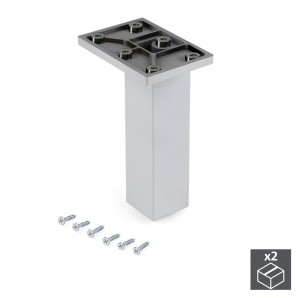 Furniture fittings - Emuca Pie para mueble, central, regulable 140 - 150 mm, Plástico, Cromado, 2 ud.