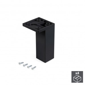 Wheels and legs for furniture - Emuca Pie para mueble, esquina, regulable 100 - 110 mm, Plástico, Negro, 4 ud.