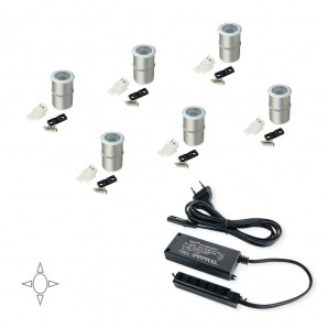 LED battery operated - Emuca Luz LED, D. 18 mm, empotrables, convertidor 15 W, Luz blanca natural, Aluminio, Anodizado mate, 6 ud.