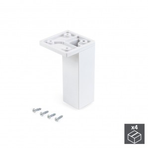 Furniture fittings - Emuca Pie para mueble, esquina, regulable 100 - 110 mm, Plástico, Blanco, 4 ud.