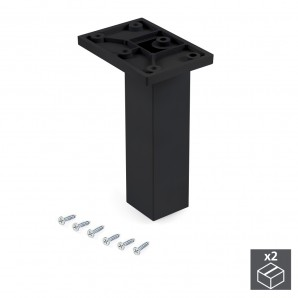 Wheels and legs for furniture - Emuca Pie para mueble, central, regulable 140 - 150 mm, Plástico, Negro, 2 ud.