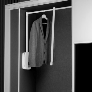 Interior organization of closets and walk-in closets - Emuca Colgador abatible para armario, regulable 600-830 mm, hasta 12 Kg, Acero, Blanco