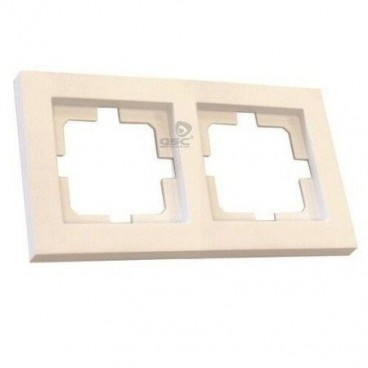 Frame for 2 elements white GSC recessed